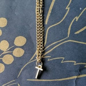 BaubleBar Jewelry - Nwot gold dainty t letter charm necklace